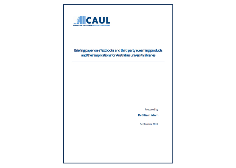 Council of Australian University Libraries (CAUL) eTextbooks study